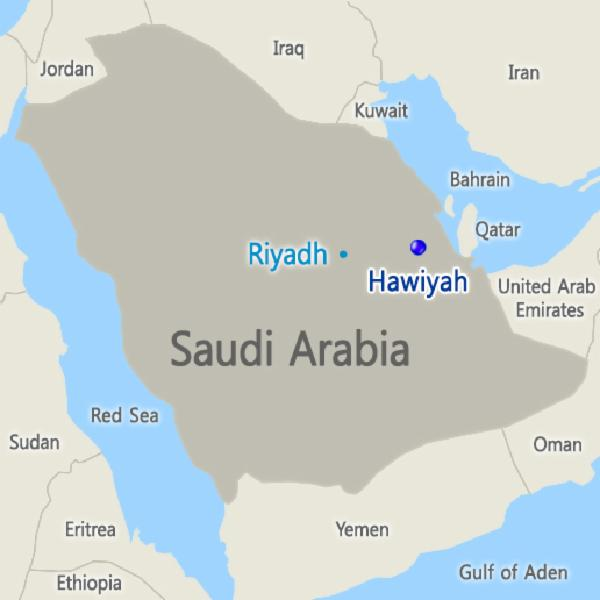 Location of Aramco Hawiyah Unayzah Gas Reservoir Storage Project in Saudi Arabia